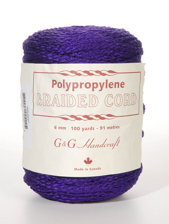 Braided Macrame Cord - Purple - 6mm - 100 yards