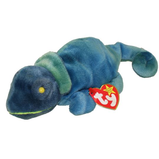 TY Beanie Baby - RAINBOW the Chameleon (dark blue) (9 inch)