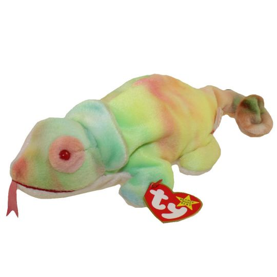 TY Beanie Baby - RAINBOW the Chameleon (tye-dyed) (9 inch)